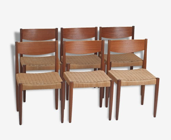 Six chaises Poul Volther circa 60