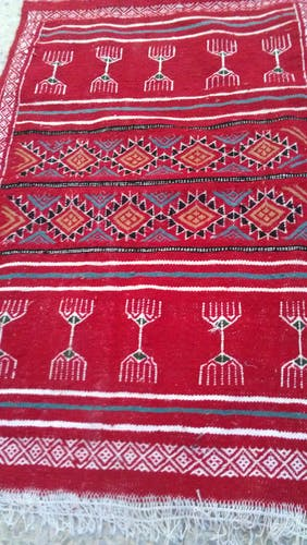 Carpet kilim red handmade in pure wool 100 x 50 cm