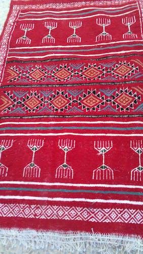 Tapis kilim rouge fait à la main en pure laine 100x50 cm