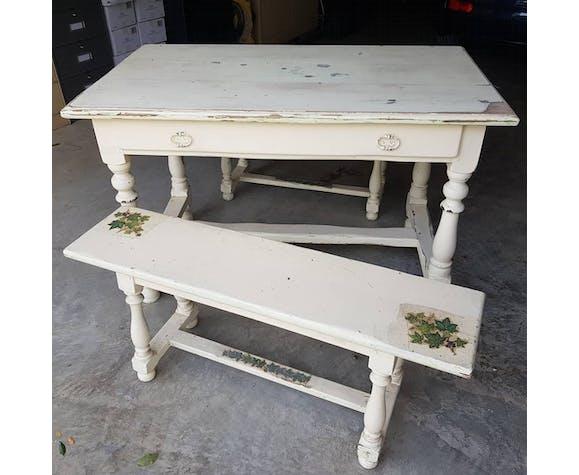 Table de ferme et 2 bancs