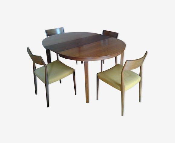Table ronde et 4 chaises en palissandre Roche Bobois années ...