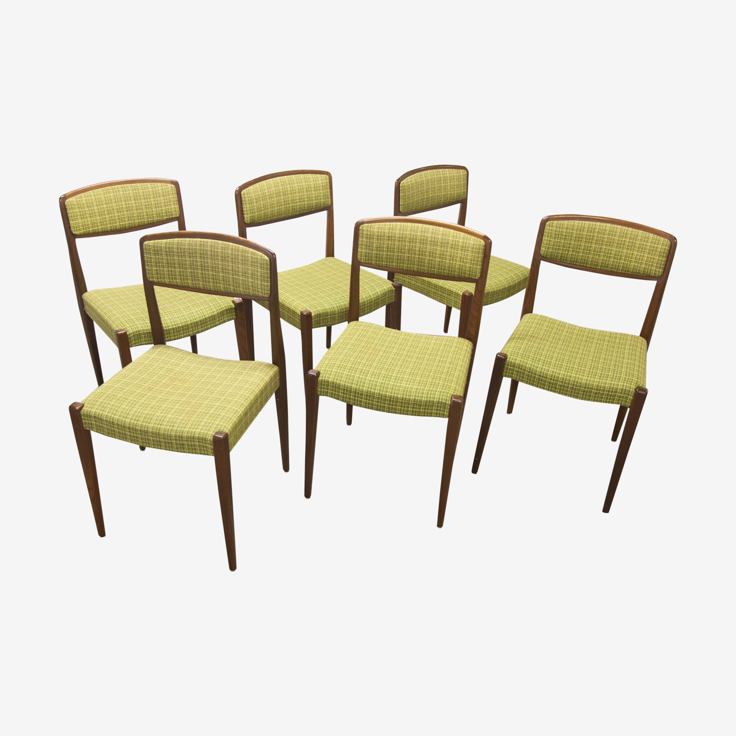 Set of 6 teak chairs fabrics back and seat signed SS