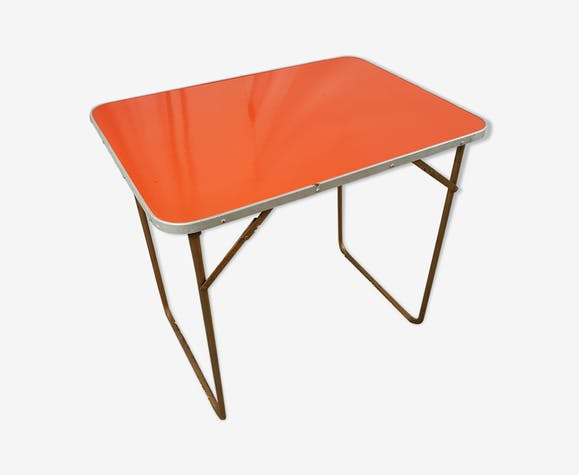 Table camping pliante orange Chantazur Lafuma années 70 ...