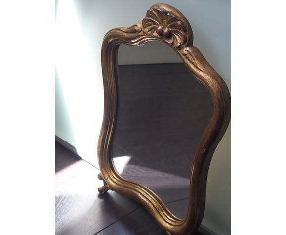 Miroir en bois doré 42x30cm