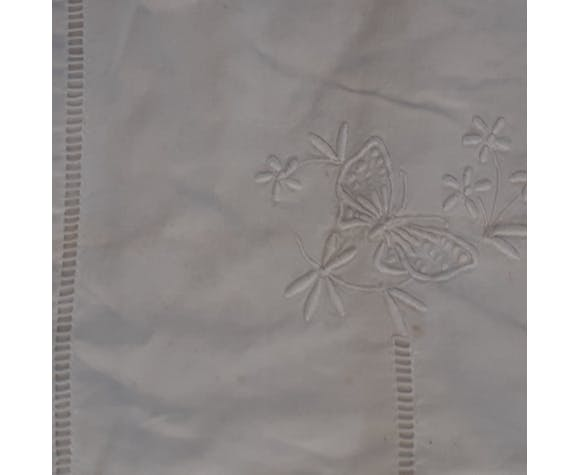 Old white sheet, hand embroidered, flowers, butterflies