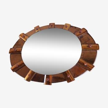 Miroirs vintage et anciens d 39 occasion for Miroir soleil cuivre