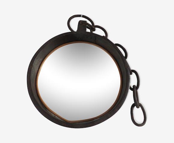 Miroir rond brutaliste en acier brut années 60 50cm