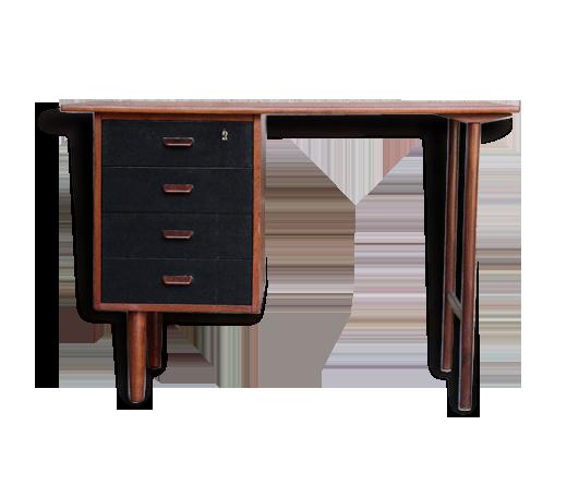 Bureau vintage scandinave en teck tiroirs noir teck noir