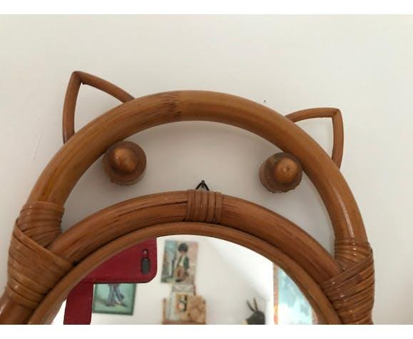 Miroir en rotin hibou, 46x22cm