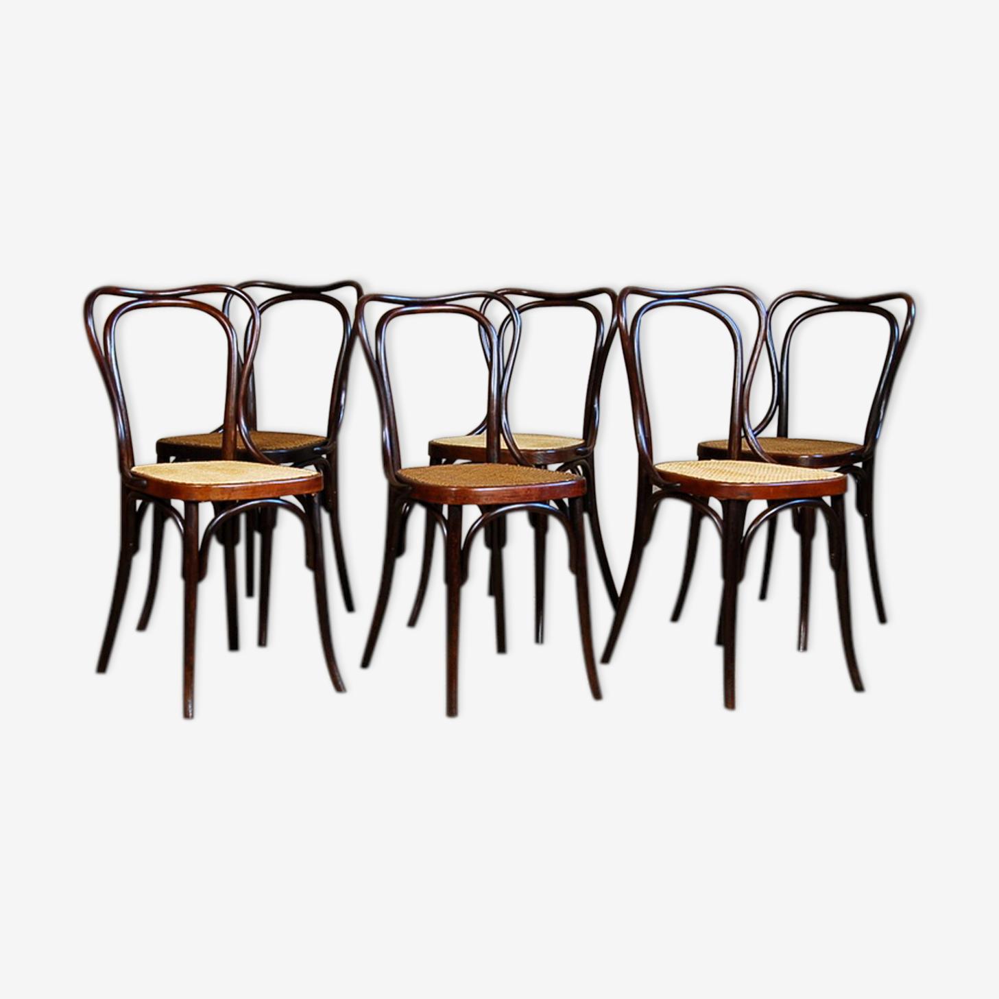Suite de 6 chaises bistrot Konh N°55  début XXe