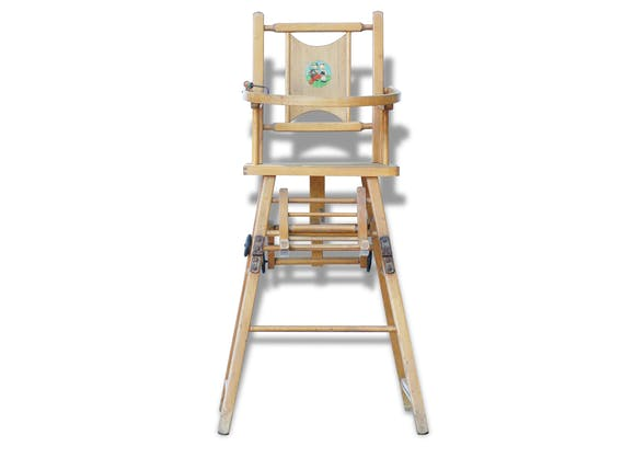 chaise haute de b b avec d cor de b atrice mallet bois mat riau bois couleur vintage. Black Bedroom Furniture Sets. Home Design Ideas