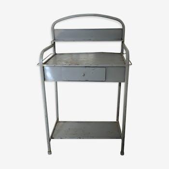 Meuble de toilette d'hôpital en métal gris