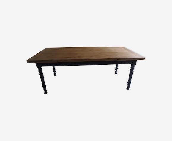 Table avec 2 rallonges à l\'italienne piétement gris ardoise plateau ...