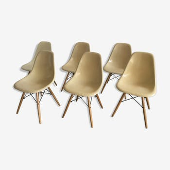 Set of 6 dining cream chair DSW  by Charles & Ray Eames