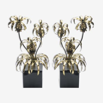Floor lamps, lacquered brass pineapple 1970