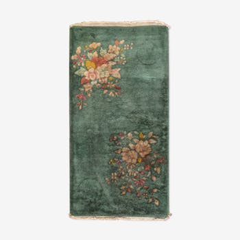 Carpet old Chinese art deco done hand 61cm x 121cm 1920 s