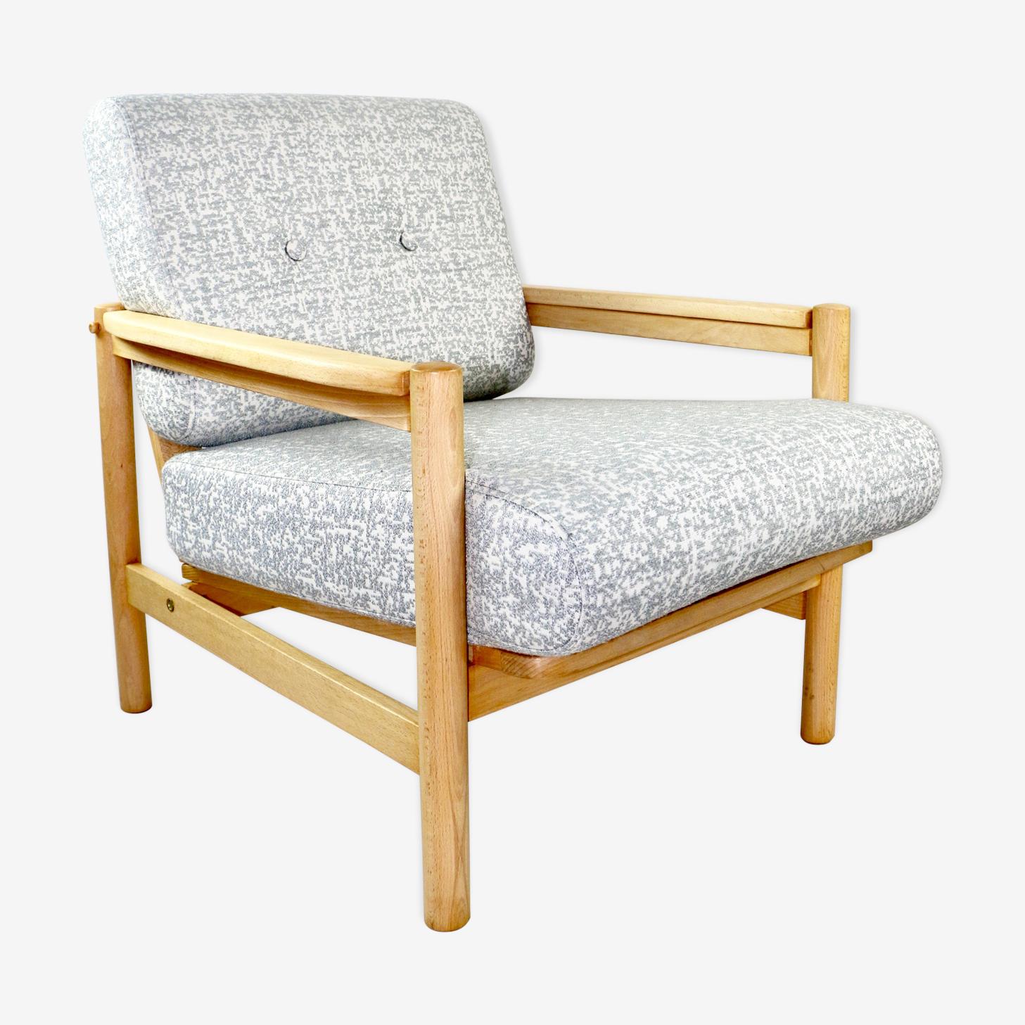 Vintage grey armchair light wood