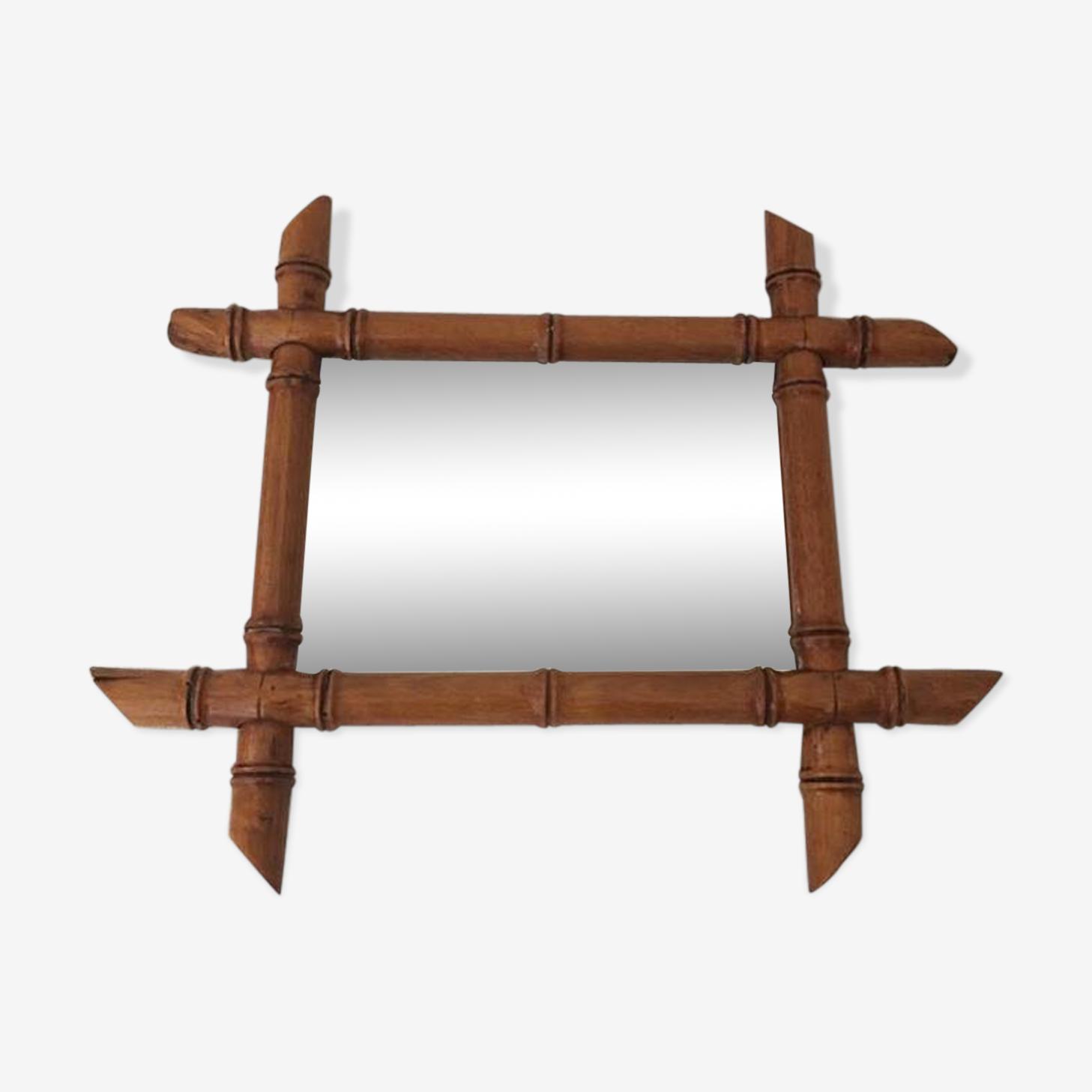 Miroir vintage bois façon bambou 18x24cm