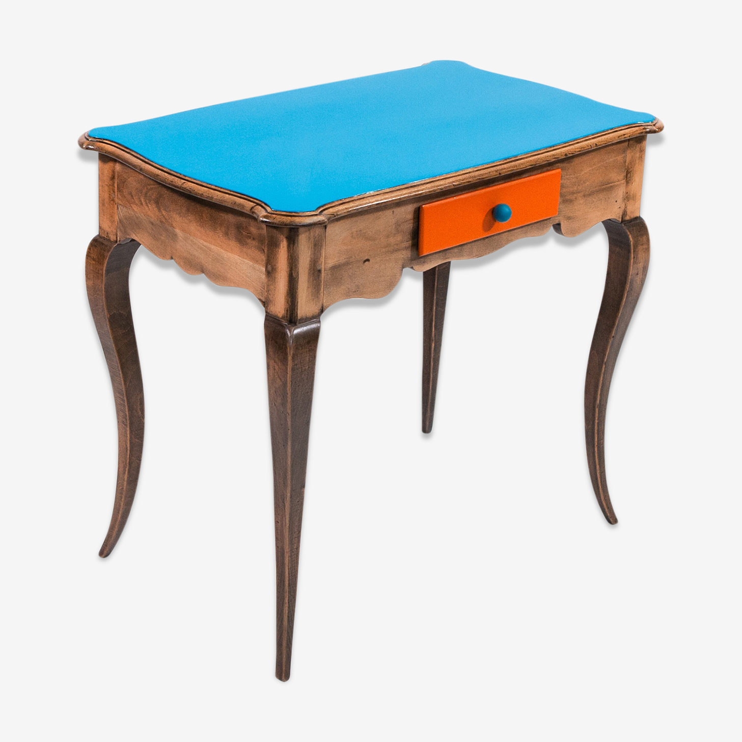 Blue, Orange and natural wood desk in solid oak with curved legs