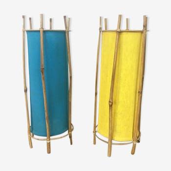 Paire de lampes en rotin tube, 1970