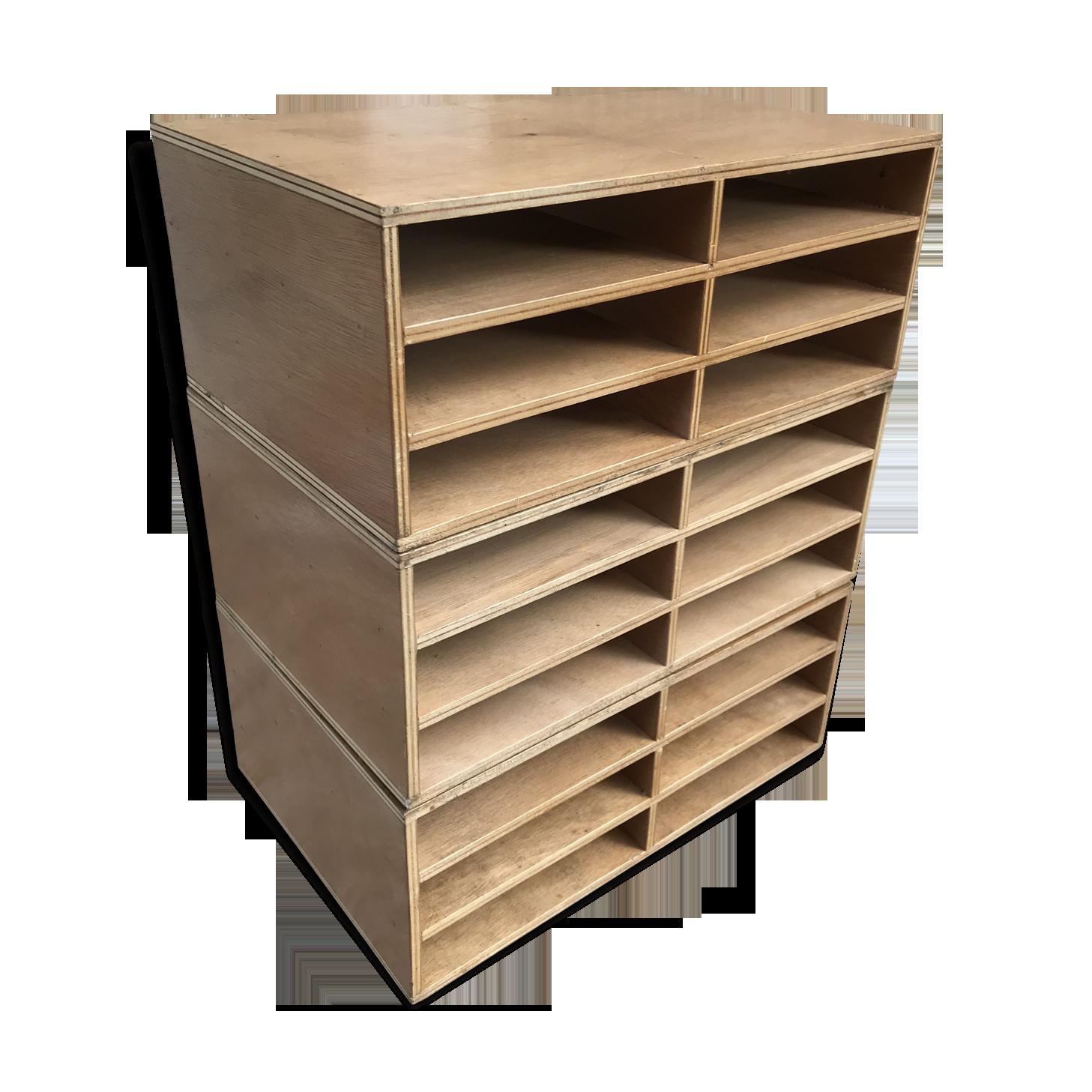 Ancien casier porte documents bois deco bureau vintage bois