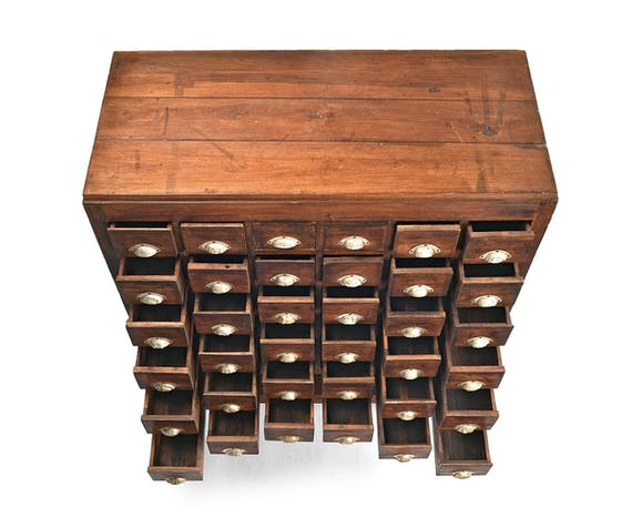 Apothecary furniture with 36 drawers