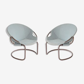 Pair of armchairs circle  Lusch Erzeugnis for Lush & Co