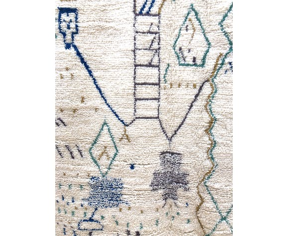 Moroccan Berber carpet Azilal green and blue patterns - 254 x 142 cm