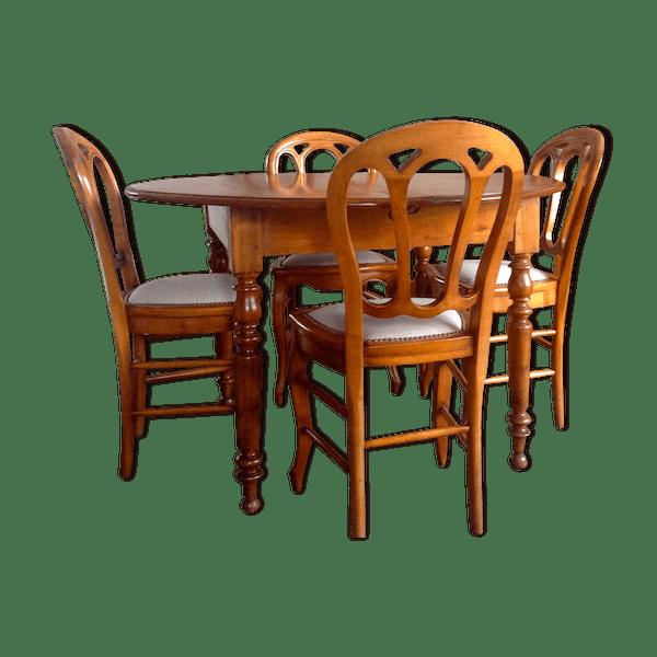 Salle A Manger Louis Philippe Relookee: Table Ronde De Salle à Manger & 4 Chaises En Merisier