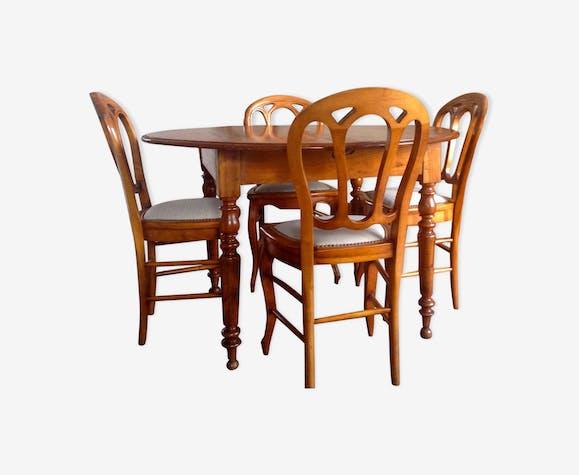 Table Ronde De Salle A Manger 4 Chaises En Merisier Style Louis