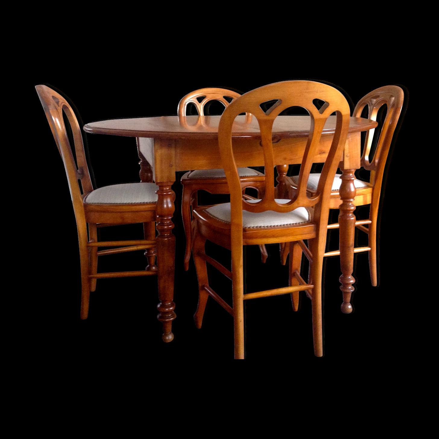 Superbe Table Ronde De Salle à Manger U0026 4 Chaises En Merisier Style Louis Philippe