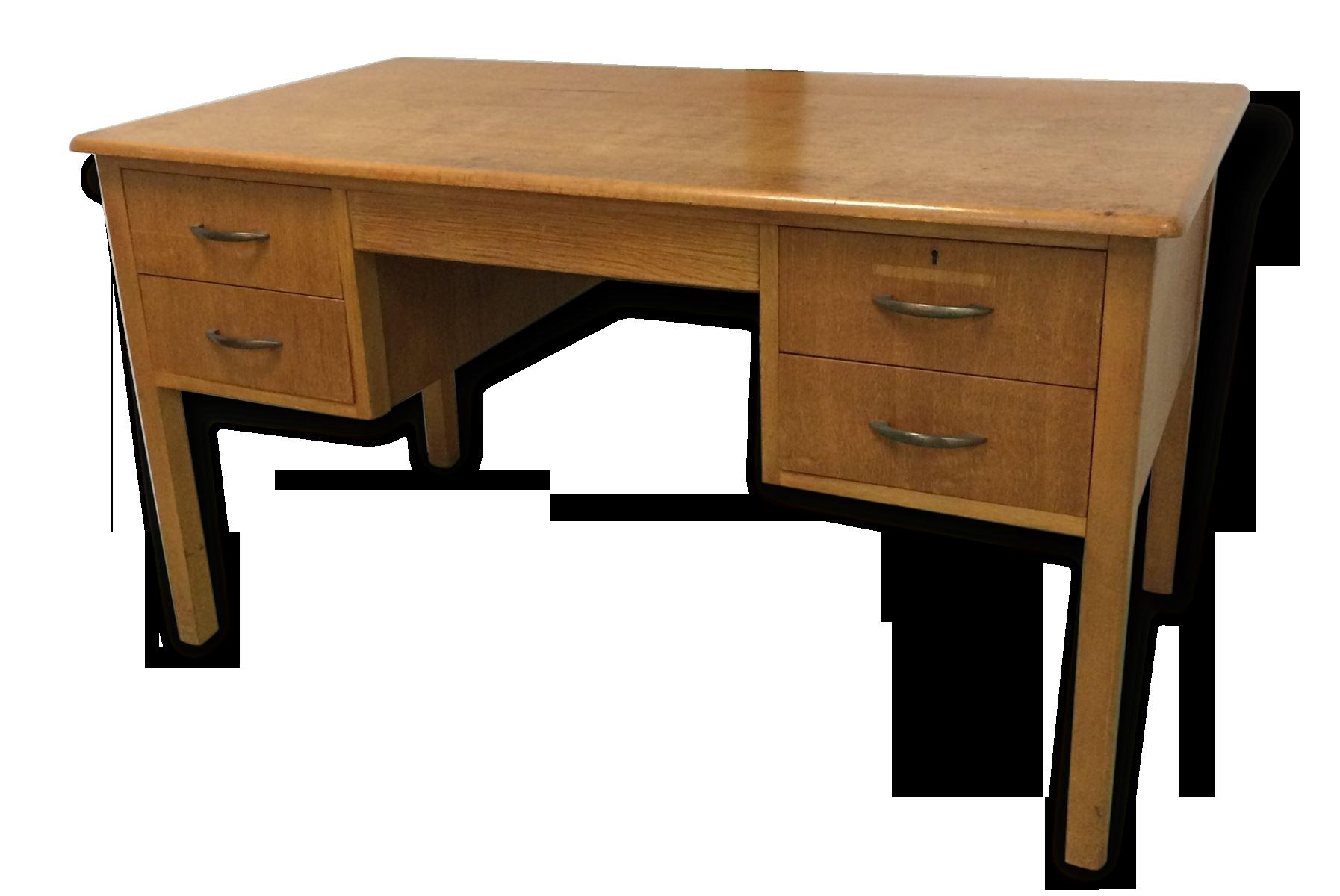 Bureau anglais en bois meuble salon bois clair blanc bas massif