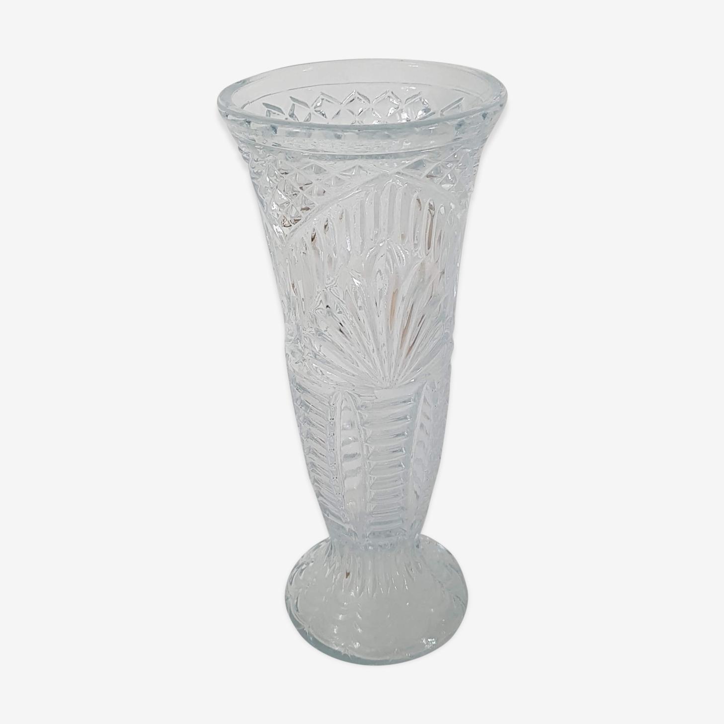 Vase art déco en verre moulé