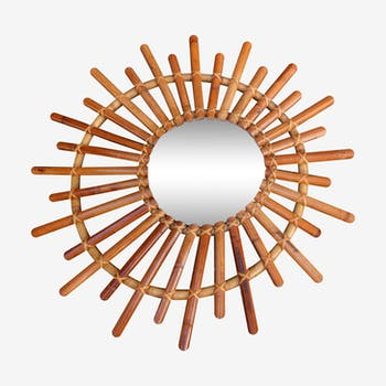 Oval mirror of witch in rattan and bamboo of the 1960s 75cm