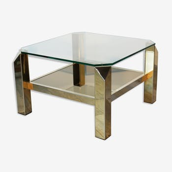 table basse rectangulaire en m tal dor ann es 70 fer. Black Bedroom Furniture Sets. Home Design Ideas