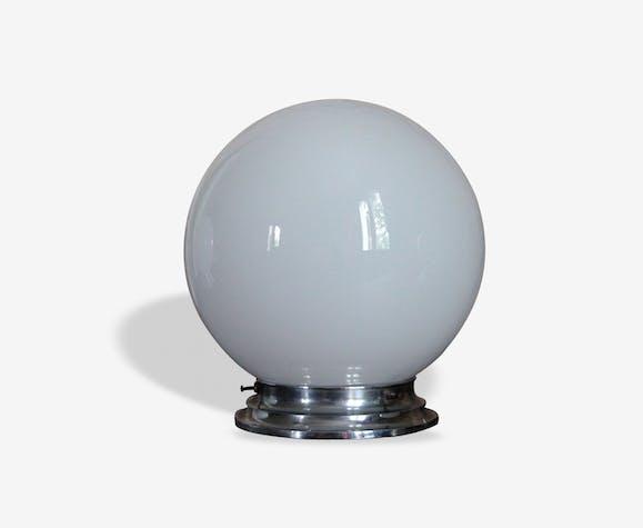 Lampe applique plafonnier globe vintage en verre opaline blanche diamètre 20 cm