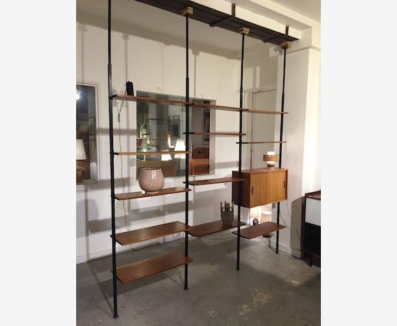 biblioth que bois m tal sol plafond bois mat riau. Black Bedroom Furniture Sets. Home Design Ideas