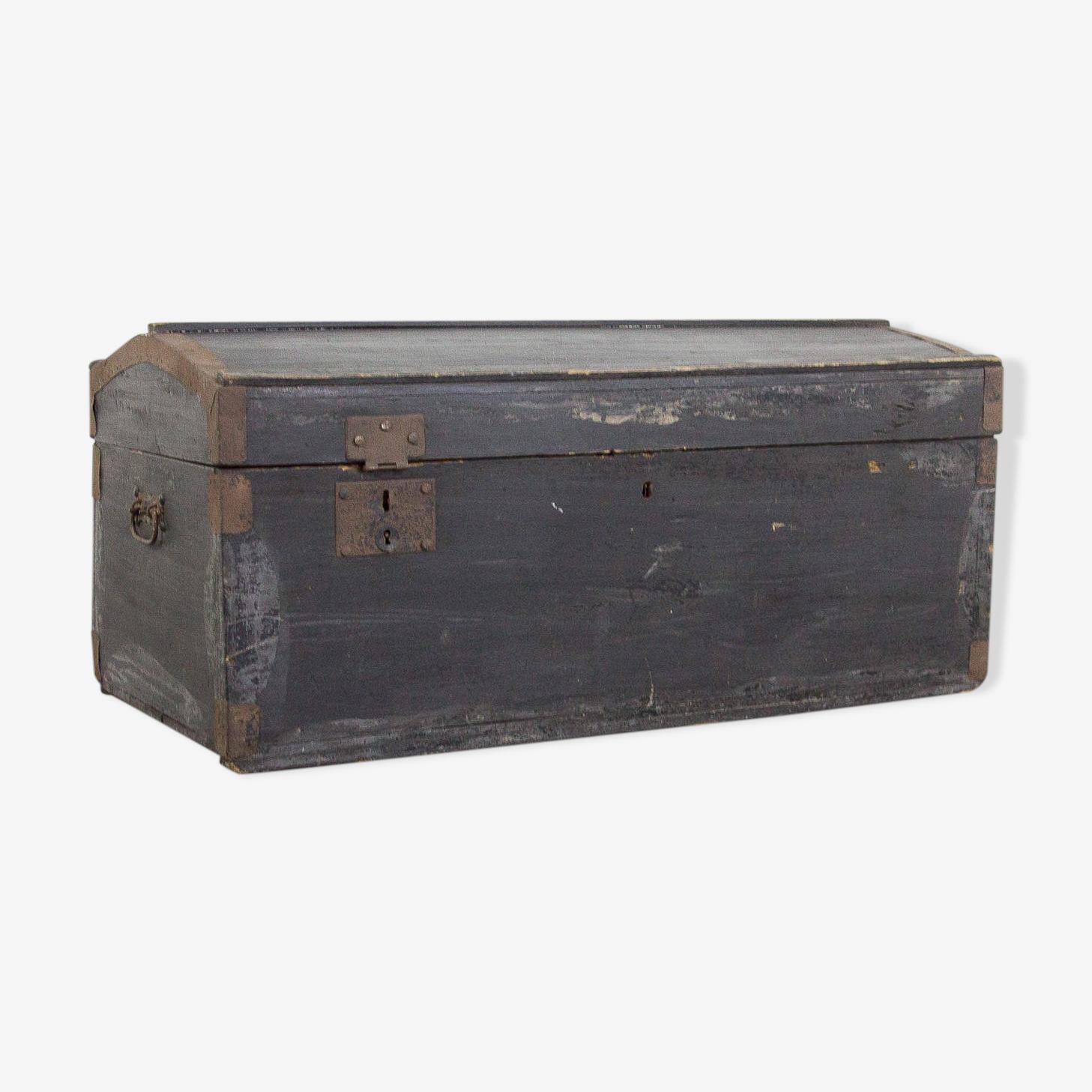 Black vintage wooden trunk