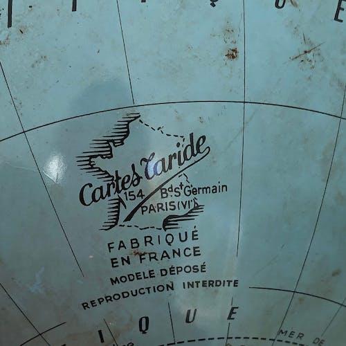 Globe terrestre Taride tôle vintage 1950 - 30 cm