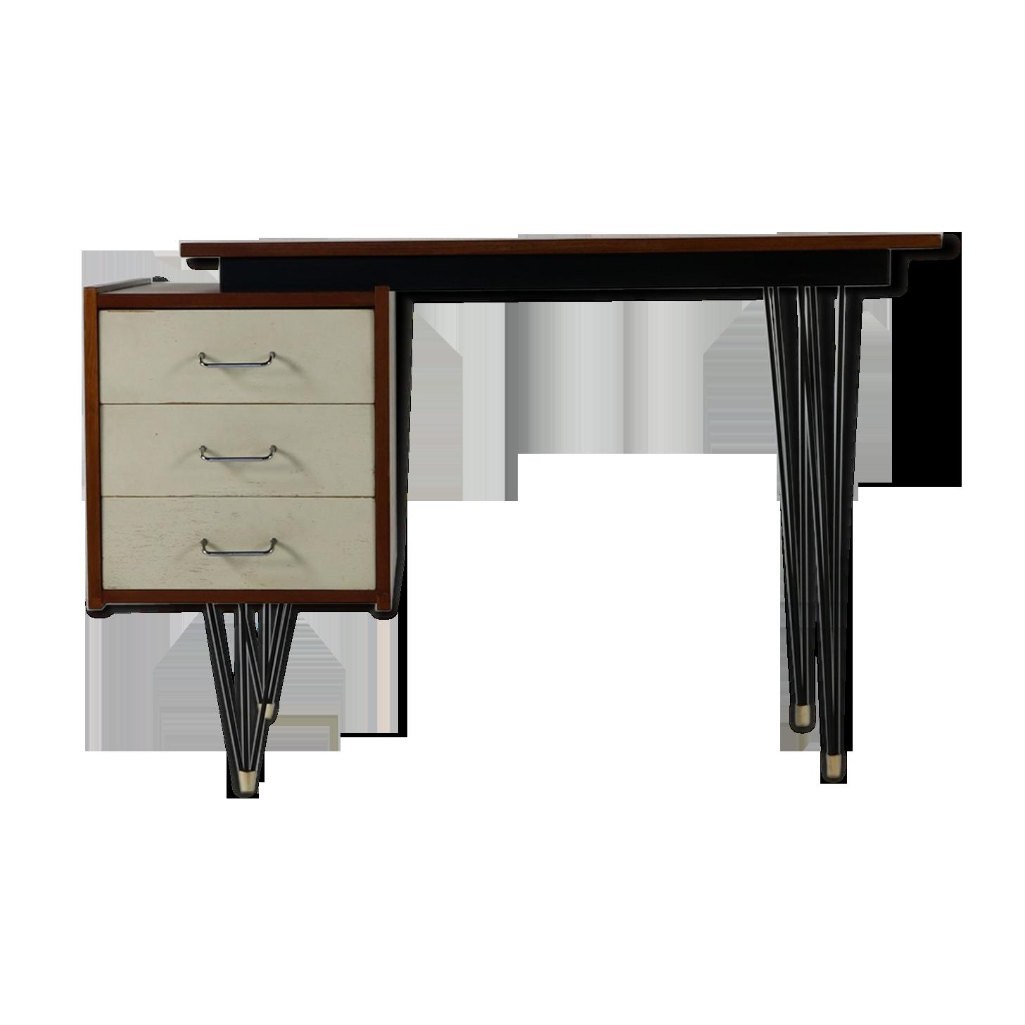 Bureau piètement épingle à cheveux de design néerlandais teck