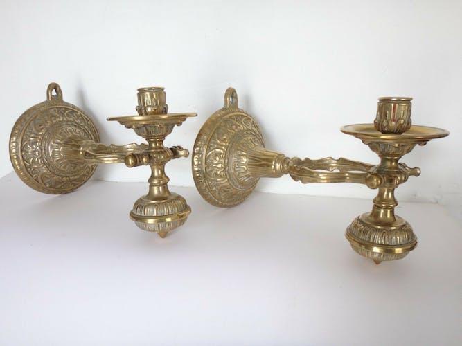 Ancienne paire de bougeoirs en bronze doré pour bateau vers 1940