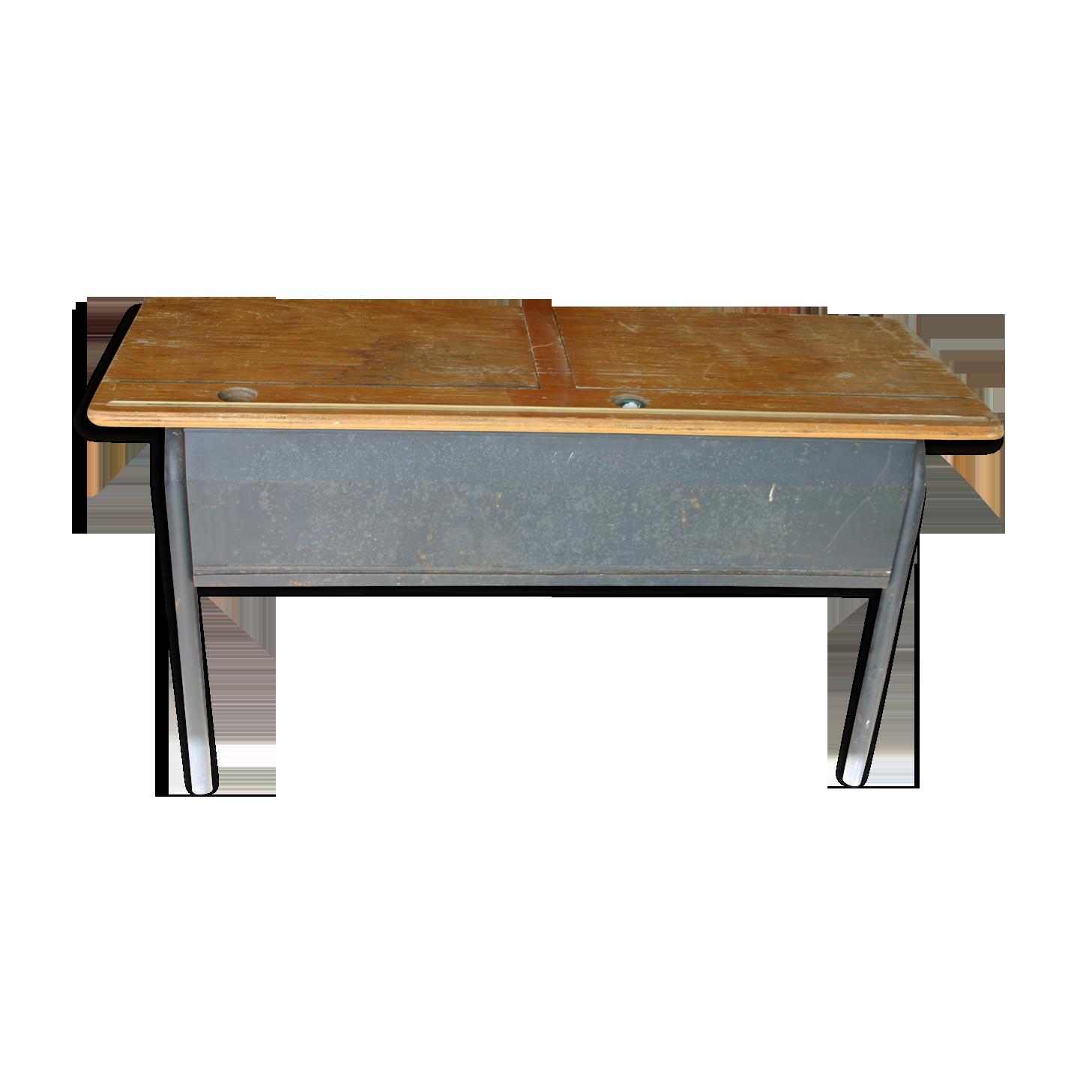 Bureau d écolier double acier et bois bois matériau bois
