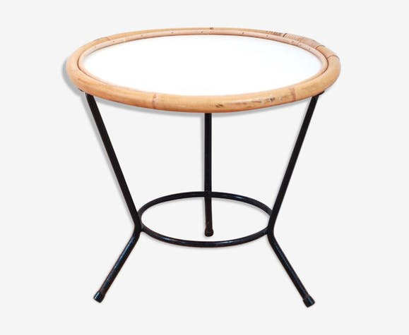 Table rotin pieds fer