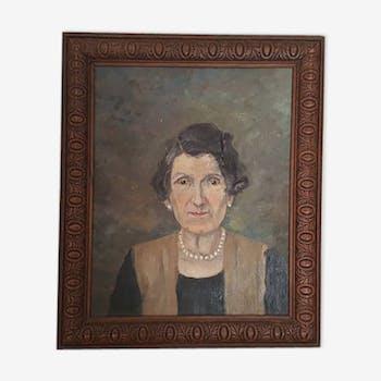 Portrait huile sur bois Dame aux perles années 20