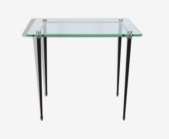 Glass and metal side table, mid century, 50 's