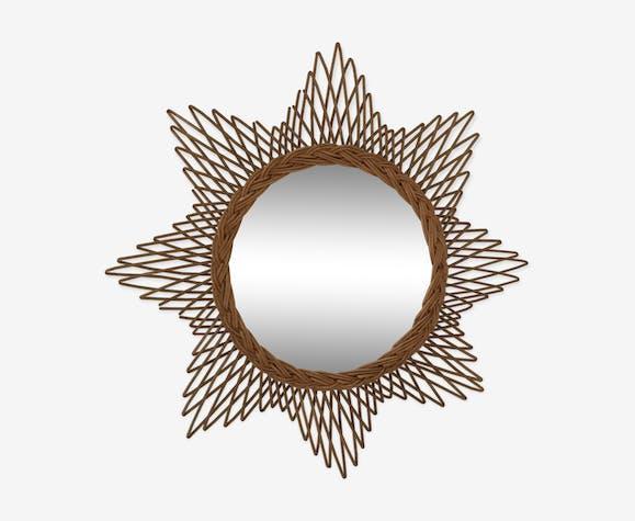 Miroir en rotin étoile 60x60 cm