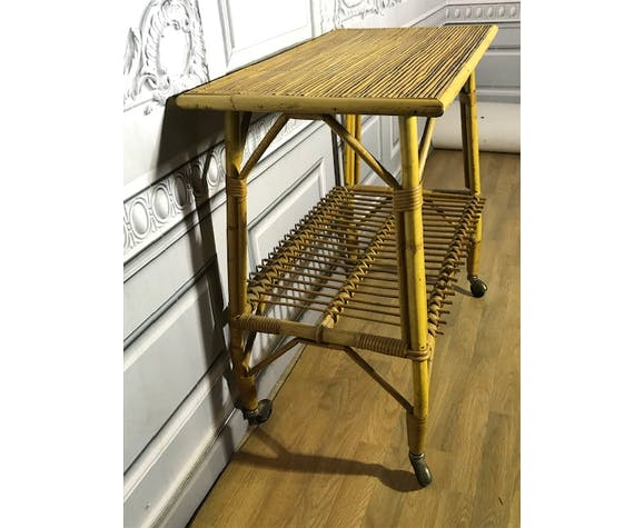 Table roulante rotin-bambou, années 50/60