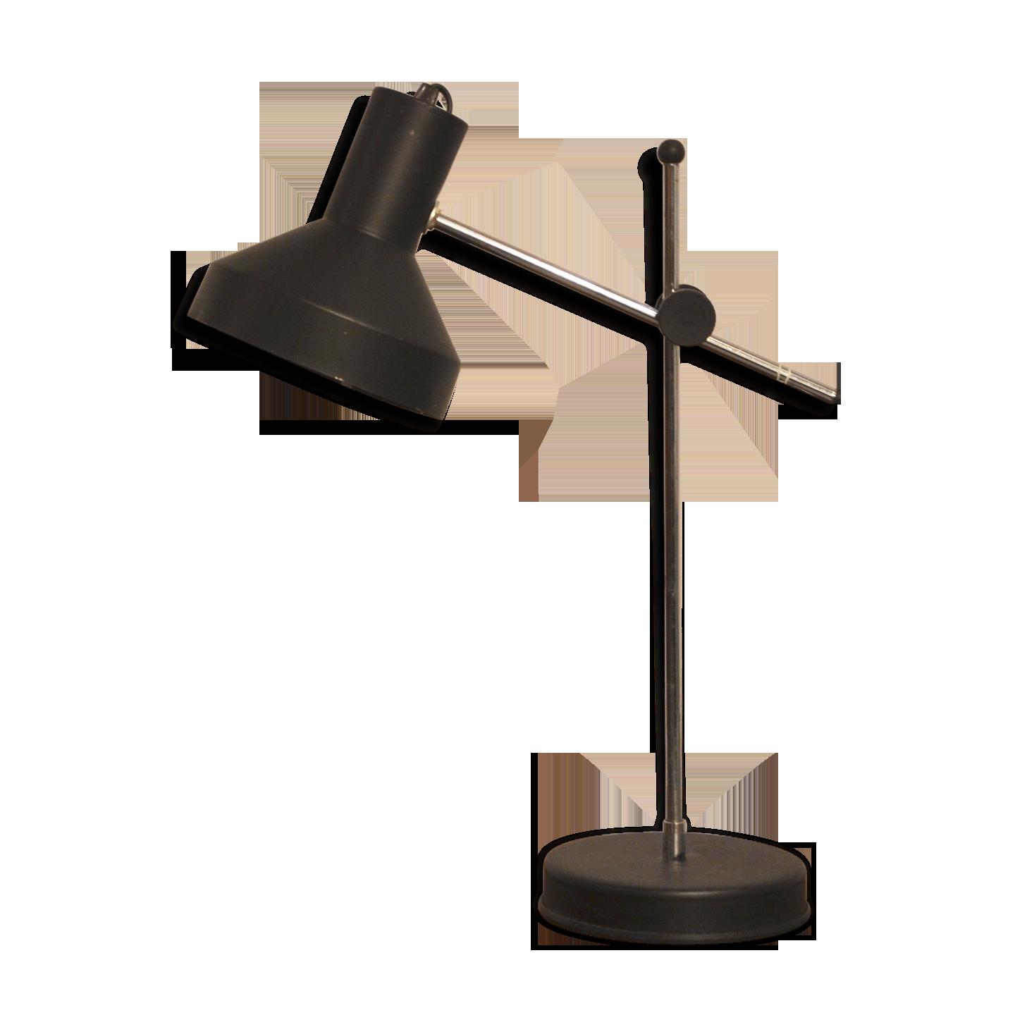 Lampe de bureau noire métal noir vintage lluz r