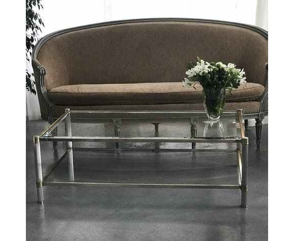 Midcentury double glass tray coffee table