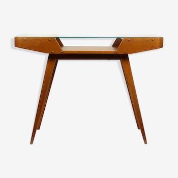 Mid century czech glass top coffee table  1960 s